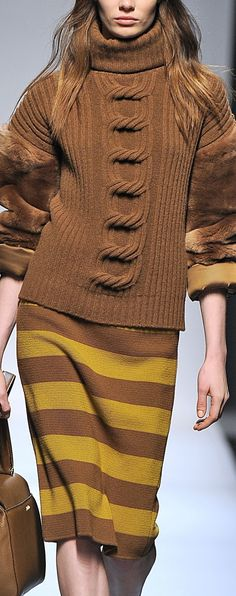 -Max Mara - Milan -FW13/14 mix fabric and texture with soft knit for couture look fashion
