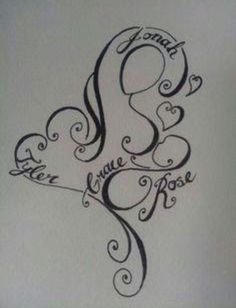 Breastfeeding tattoo with kid's names. I LOVE this!! Most likely will get this in the near future.
