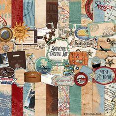 Souvenir voyage Kit de Scrapbooking numérique, Vintage d