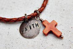 Orange Bead Bracelet Woven Leather Faith Cross by LittleBitsOFaith