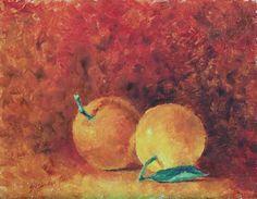 Two Oranges One Leave German, Painting, Art, Deutsch, Art Background, German Language, Painting Art, Paintings, Kunst