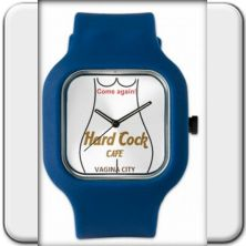 """Wristwatch: """"Hard Cock CAFE"""".  Based on an original apparel-design by Jorg Bobsin, featured already in various publications.  This naughty souvenir from Vagina City in Russia will certainly provide for conversation material.    The ambiguous request """"Come again!"""" is also available in German, Spanish, Italian and French language!   In six exciting colors!"""