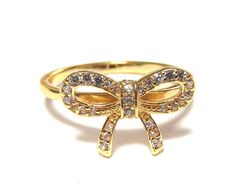 Infinity Bow Ring-14 Kt Gold Over 925 Sterling Silver With Hand Pave Set CZ -Sizes 5 To 9