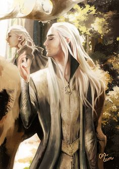 Thranduil and little Legolas  - A Mirkwood Afternoon Stroll (NMC but I love the restricted tonal range of this, and it's quite lovely)