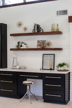 A Fixer Upper Take on Midcentury Modern Old built-in shelves were removed to make way for this work station just off the kitchen. Home Office, Office Decor, Kids Office, Office Lounge, Office Spaces, Small Office, Office Ideas, Office Furniture, Bonus Room Design