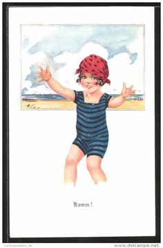 CPA Illustrateur Arthur Butcher: Komm!, Fille Im Badeanzug Am Meer