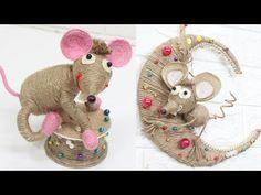 5 Jute craft mouse ideas | New year decoration ideas 2020 - YouTube Jute Crafts, New Years Decorations, Cute Diys, Origami, Burlap, Dinosaur Stuffed Animal, Teddy Bear, Concept, Make It Yourself
