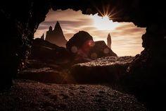 Reynisdrangar seen from a cave