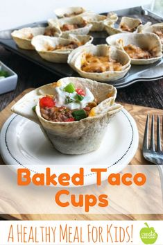 Baked Taco Cups are a healthy meal for kids & are simple to make. Made w/ beef, pork, or turkey these crunchy taco cups are a supper hit! Crisp flour tortillas are loaded w/ veggies. This healthy dinner idea even has refried beans blended in, but shh. Supper Recipes, Dinner Recipes For Kids, Dinners For Kids, Healthy Dinner Recipes, Kids Meals, Mexican Food Recipes, Family Meals, Appetizer Recipes, Supper Ideas For Kids