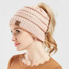 d9d2644ae14 Ponytail knit hat beanie with hole on top for women messy bun toboggan  winter hats