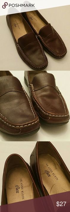 AK Anne Klein iflex loafers Size 9.5M Leather upper loafers Rich brown color In great preowned condition Anne Klein Shoes Flats & Loafers