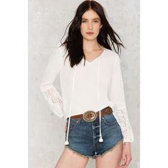 Tassel Out V-Neck Blouse (1095 NIO) ❤ liked on Polyvore featuring tops, blouses, white, white blouse, white peasant top, white v neck blouse, white top and v-neck tops
