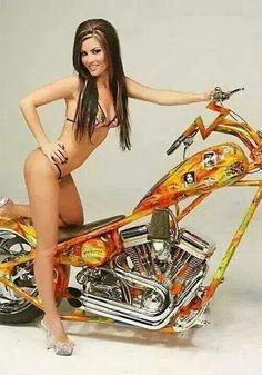 Chicks and Choppers Biker Chick, Biker Girl, Hot Bikes, Sexy Teens, Harley Davidson Bikes, Car Girls, Up Girl, Cars, Wheels