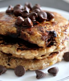 we eat these every saturday, they are the BEST! banana chocolate chip oatmeal pancakes