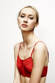Nothing like a bright-read bra top to add some punch to a sheer top!