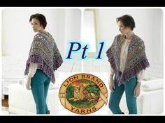 ▶ Falling Water Shawl - PART 1 - Lion Brand Crochet Tutorial - YouTube (link to left hand instructions)