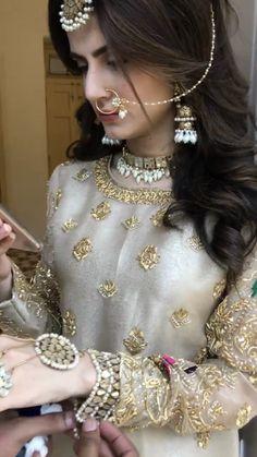 Pakistani Fancy Dresses, Pakistani Fashion Party Wear, Pakistani Wedding Outfits, Wedding Dresses For Girls, Pakistani Dress Design, Bridal Outfits, Pakistani Bridal Hairstyles, Pakistani Bridal Makeup, Nikkah Dress