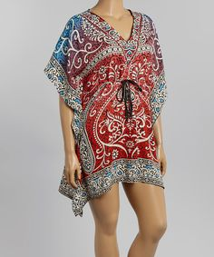 Look at this #zulilyfind! Red & Blue Scroll Caftan - Plus by Life and Style Fashions #zulilyfinds