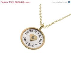 """Personalized Rimmed Charm Necklace - 5/8"""" Raised Edge Anniversary Gift for Her"""