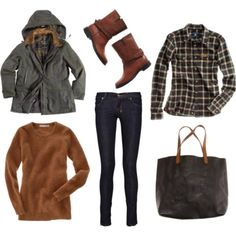 plaid shirt, brown boots, dark skinny jeans, brown sweater, cargo jacket, olive