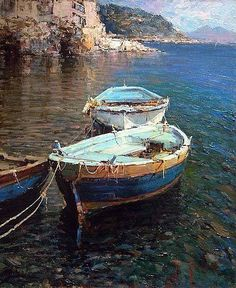 Lovely painting by artist Andrea Patrisi. Seascape Paintings, Watercolor Paintings, Landscape Art, Landscape Paintings, Boat Painting, Painting Art, Boat Art, Old Boats, Water Crafts