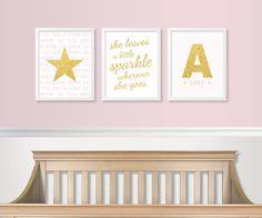 Gold & Pink Nursery Decor - Baby Girl Decor - Glitter Sparkle - Gold Glam Nursery - Baby Girl Monogram Print Wall Art - NOT REAL GLITTER on Etsy, $32.68 AUD