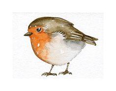 Aceo Watercolor Original Art Bird - Robin - Painted by Lorisworld. $12.00, via Etsy.