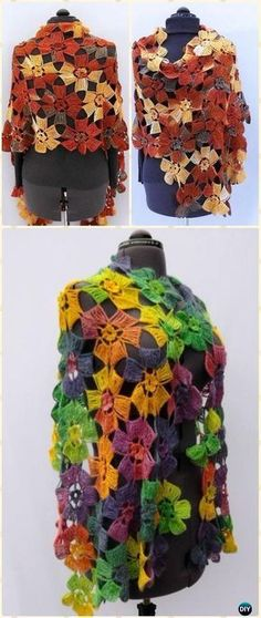 Crochet Amazing Flowers Wrap Shawl Free Pattern - Crochet Women Shawl Sweater Outwear Free Patterns