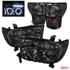 Fits Smoke 07-13 Toyota TUNDRA Halo LED Projector Headlights + LED Tail Lights in Headlights | eBay