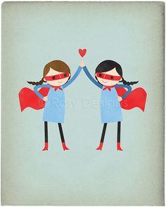 Super High Five Girls by rosydesignsonline (via Etsy).