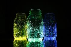 Neat inexpensive idea for decorating...glow sticks in water!