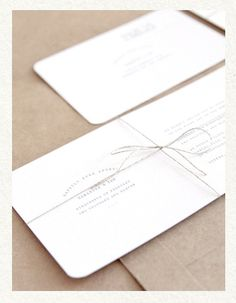 Self promotion idea. Even the smallest detail (string tie vs. no string tie) can make the difference in getting something of yours noticed or chucked. Stationery Craft, Stationery Design, Simple Elegant Wedding, Self Branding, Business Invitation, Card Envelopes, Wedding Place Cards, Graphic Design Typography, Paper Design