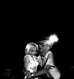 """Arthur Miller showsMarilyn Monroesome dance steps for her next scene on the set ofThe Misfits(1961, dir. John Huston)Miller was describing the way his father used to """"Skip to My Lou""""(via) Photo by Eve Arnold"""