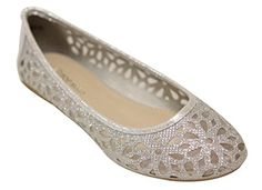 women's flats: Top Moda Women's rounded toe comfort mesh floral cutout hollow slip on flats Silver 9 Tolu, Womens Flats, Mesh, Slip On, Womens Fashion, Floral, Summer, Shoes, Amazon