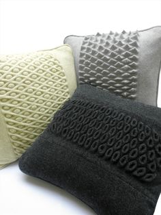 Natalie Rudkin's Graduate Portfolio on Arts Thread. Machine Knit Luxury Lambswool Cushions which use beautiful textured stitches. I love the colours and textures of these pieces. They make me want to get my machine out!