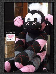 Handmade rocker sock monkey: Carly  The original by ChikiMonkeys