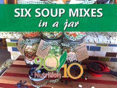 Six Healthy Soup Mixes in a Jar - kreative gartenideen Homemade Spices, Homemade Soup, Homemade Gifts, Dry Soup Mix, Soup Mixes, Mason Jar Mixes, Mason Jar Diy, Jar Food Gifts, Gifts In Jars