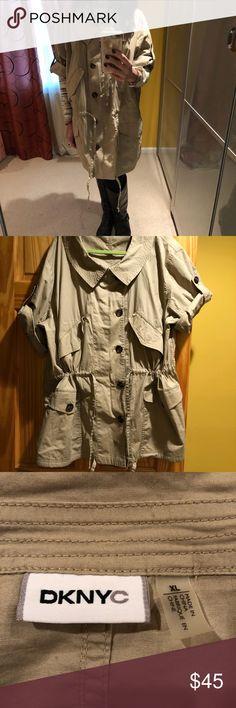 DKNY khaki jacket, 3/4 sleeve, size XL DKNY khaki jacket, size XL, lots of pockets, drawstring waist and bottom! NWOT! DKNYC Jackets & Coats Utility Jackets