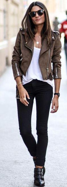 #fall #street #style | Suede Biker Jacket + White Tee + Black Jeans