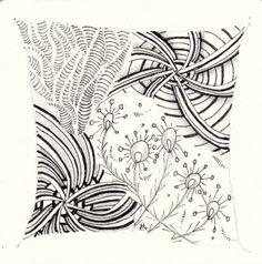 Ein Zentangle aus den Mustern Decollation, Indy-Rella, Coquess,  gezeichnet von Ela Rieger, CZT