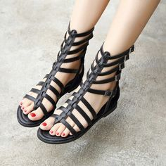 Women's Style Gladiator Sandals Black Gladiator Sandals Open Toe Comfortable Summer Sandals Fall Fashion Outfits First Day of Back To School Outfits Cute Outfits Plus Size Fashion For Women for Party, Music festival | FSJ