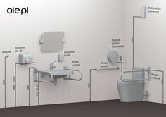 Wysokość montażu wyposażenia toalety dla niepełnosprawnych