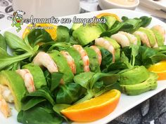 Aguacates con langostinos - La rana Rosa Green Beans, Cantaloupe, Spinach, Sushi, Fruit, Vegetables, Cooking, Ethnic Recipes, Pink