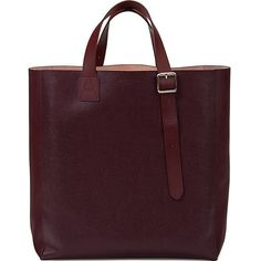 ASPINAL OF LONDON Saffiano leather tote bag ($455) ❤ liked on Polyvore featuring bags, handbags, tote bags, burgundy, saffiano leather handbag, purple tote bag, burgundy purse, aspinal of london and purple purse