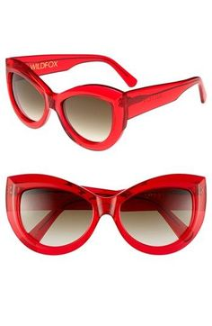 Wildfox 'Kitten' 56mm Sunglasses Translucent Red