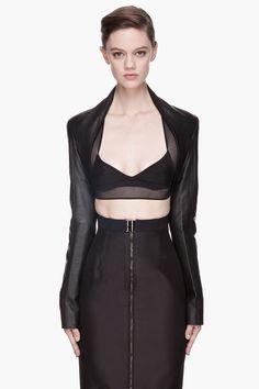 GARETH PUGH Black buffed Leather minimalist Bolero