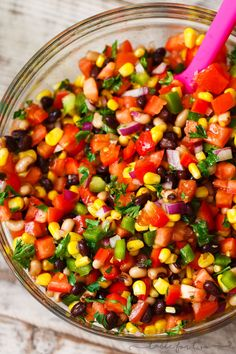 Salsa and beans had a baby and named it cowboy caviar! This deliciously flavorful salad is a great side dish for any party or barbecue!