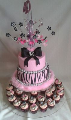 Gluten free #pink #zebra 2 tier  40th birthday #cake  with red velvet #cupcakes created by MJ www.mjscakes.co.nz
