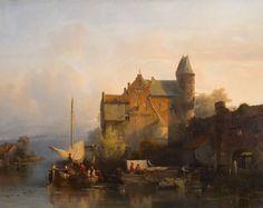 Solomon Verveer, River landscape with building and watergate, 1841. Rijksmuseum Twente.
