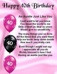 Fridge Magnet - Personalised Poem - Auntie Poem - 40th Birthday  + FREE GIFT BOX